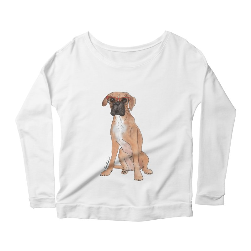 Boxer wearing glasses Women's Scoop Neck Longsleeve T-Shirt by Tara Joy Andrews