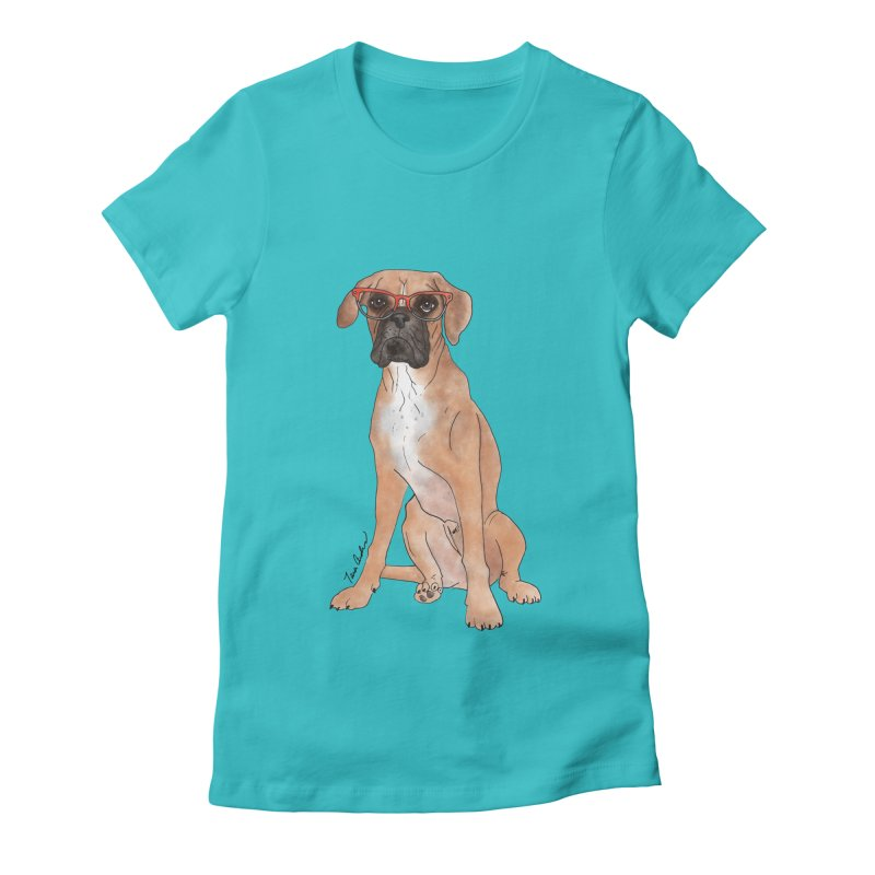 Boxer wearing glasses Women's Fitted T-Shirt by Tara Joy Andrews