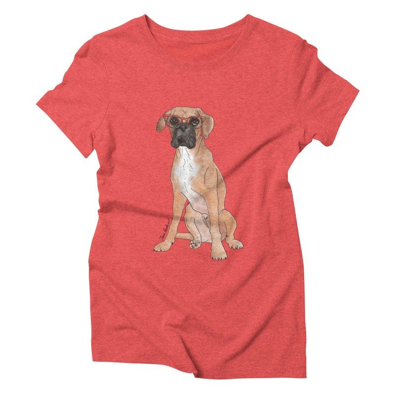 Boxer wearing glasses Women's Triblend T-Shirt by Tara Joy Andrews