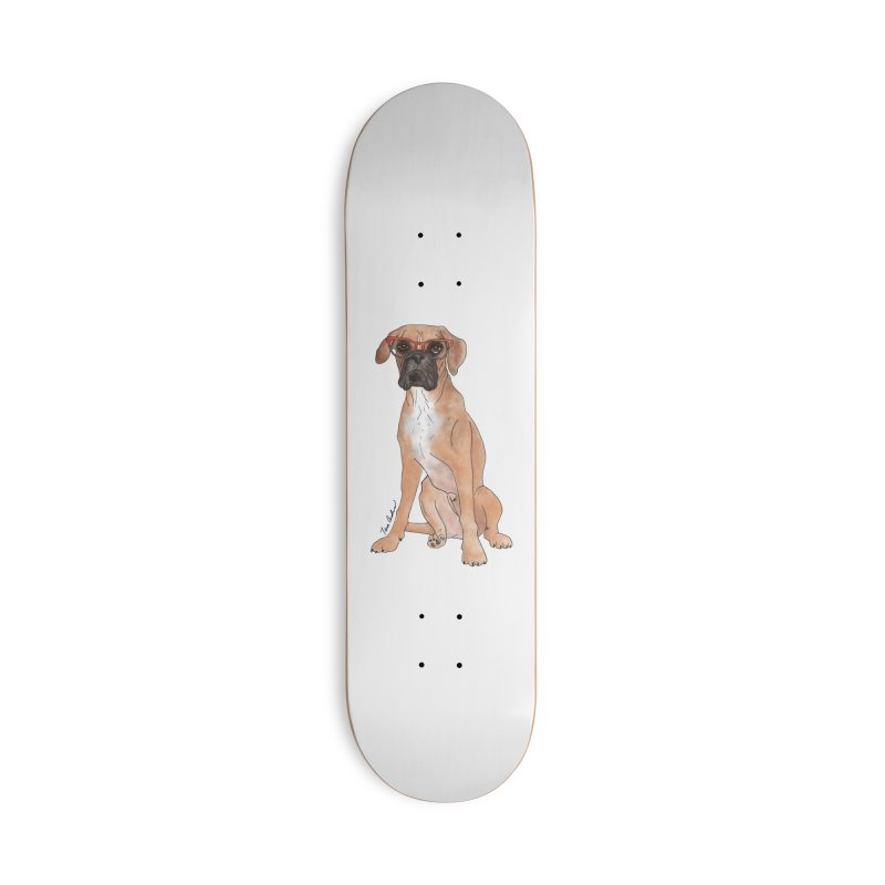 Boxer wearing glasses Accessories Deck Only Skateboard by Tara Joy Andrews