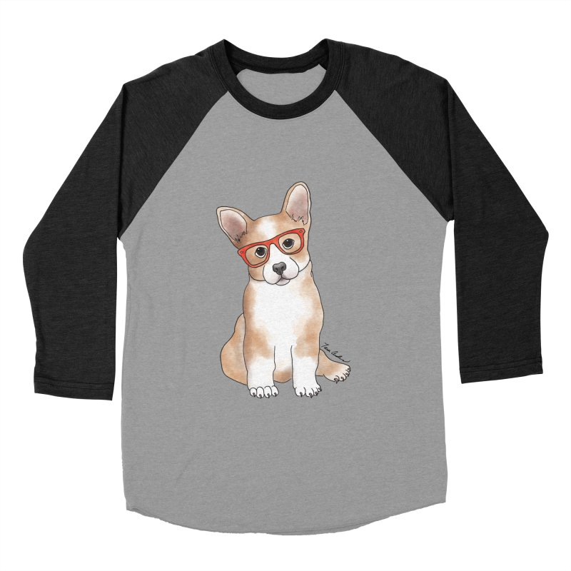 Cuddly Corgi Men's Baseball Triblend Longsleeve T-Shirt by Tara Joy Andrews