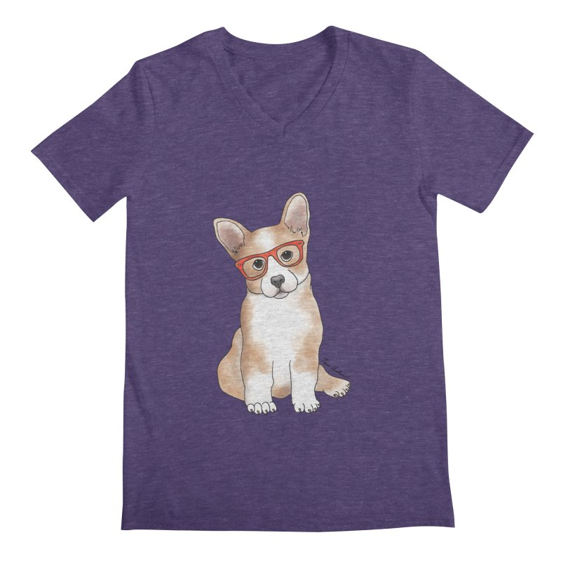 Cuddly Corgi Men's Regular V-Neck by Tara Joy Andrews