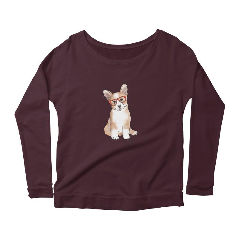 Cuddly Corgi Women's Scoop Neck Longsleeve T-Shirt by Tara Joy Andrews