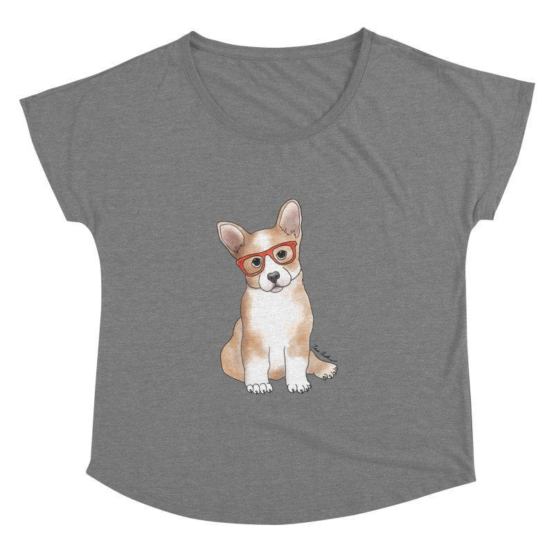 Cuddly Corgi Women's Dolman Scoop Neck by Tara Joy Andrews
