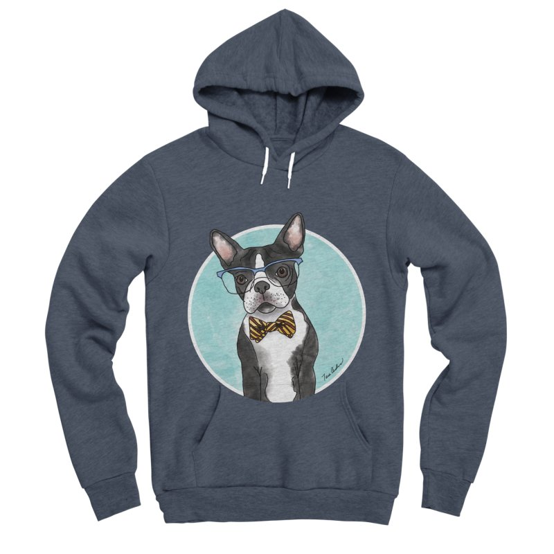 Boston Terrier with bowtie Men's Sponge Fleece Pullover Hoody by Tara Joy Andrews