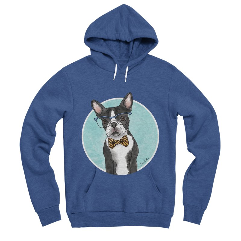 Boston Terrier with bowtie Women's Sponge Fleece Pullover Hoody by Tara Joy Andrews