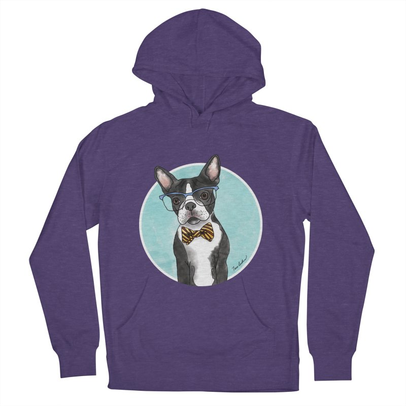 Boston Terrier with bowtie Women's French Terry Pullover Hoody by Tara Joy Andrews