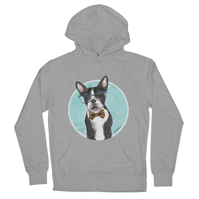 Boston Terrier with bowtie Men's French Terry Pullover Hoody by Tara Joy Andrews