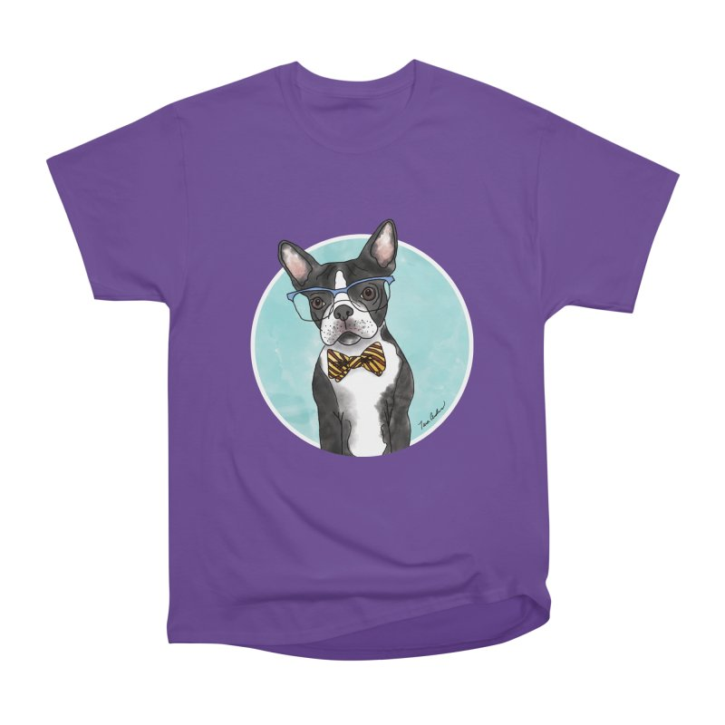 Boston Terrier with bowtie Men's Heavyweight T-Shirt by Tara Joy Andrews