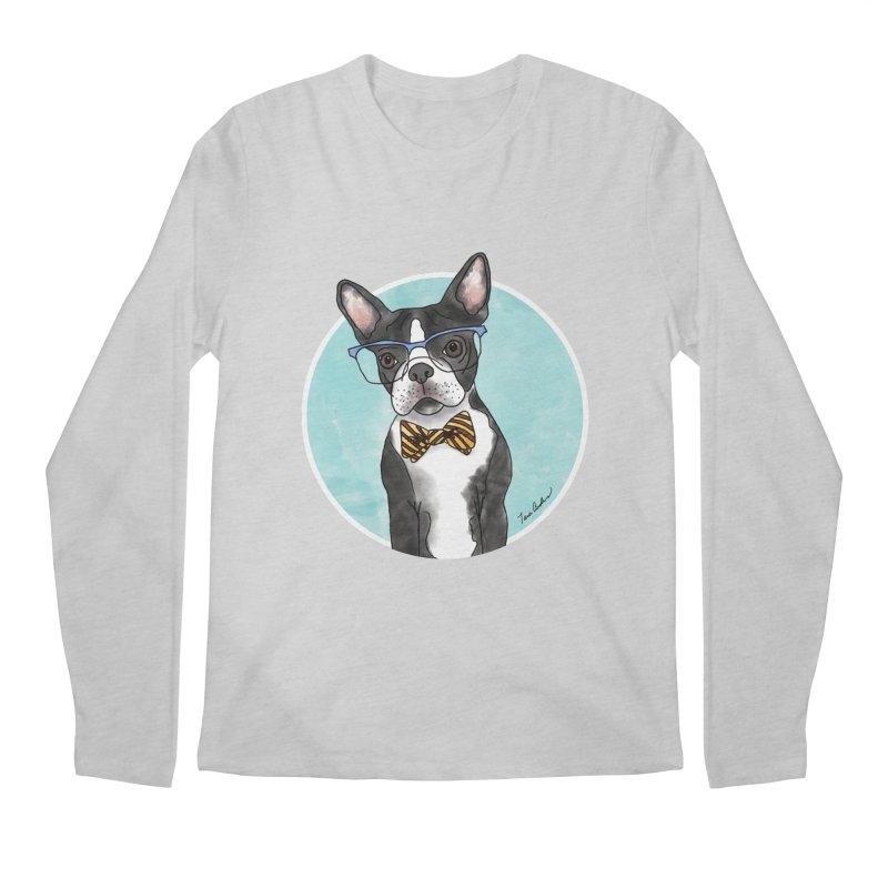 Boston Terrier with bowtie Men's Regular Longsleeve T-Shirt by Tara Joy Andrews