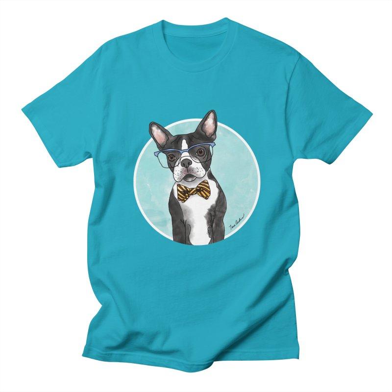 Boston Terrier with bowtie Women's Regular Unisex T-Shirt by Tara Joy Andrews