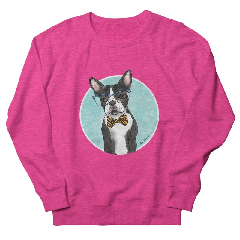 Boston Terrier with bowtie Women's French Terry Sweatshirt by Tara Joy Andrews