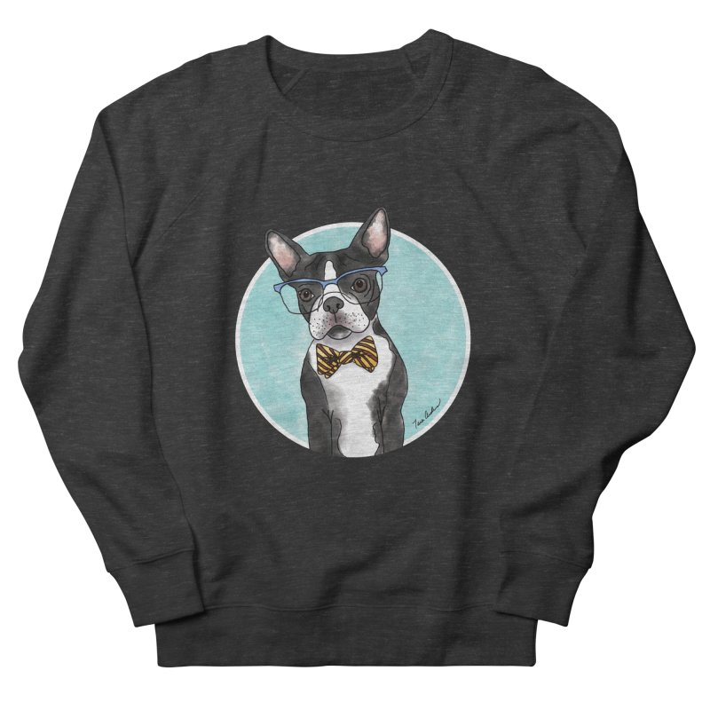 Boston Terrier with bowtie Men's French Terry Sweatshirt by Tara Joy Andrews
