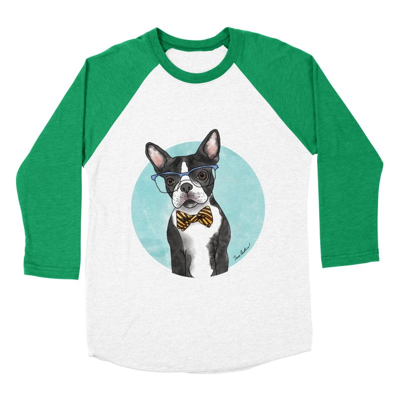 Boston Terrier with bowtie Women's Baseball Triblend Longsleeve T-Shirt by Tara Joy Andrews