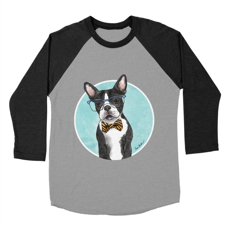 Boston Terrier with bowtie Men's Baseball Triblend Longsleeve T-Shirt by Tara Joy Andrews