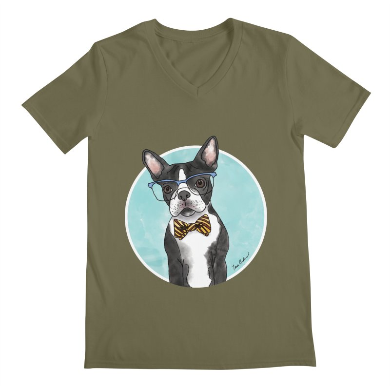 Boston Terrier with bowtie Men's Regular V-Neck by Tara Joy Andrews