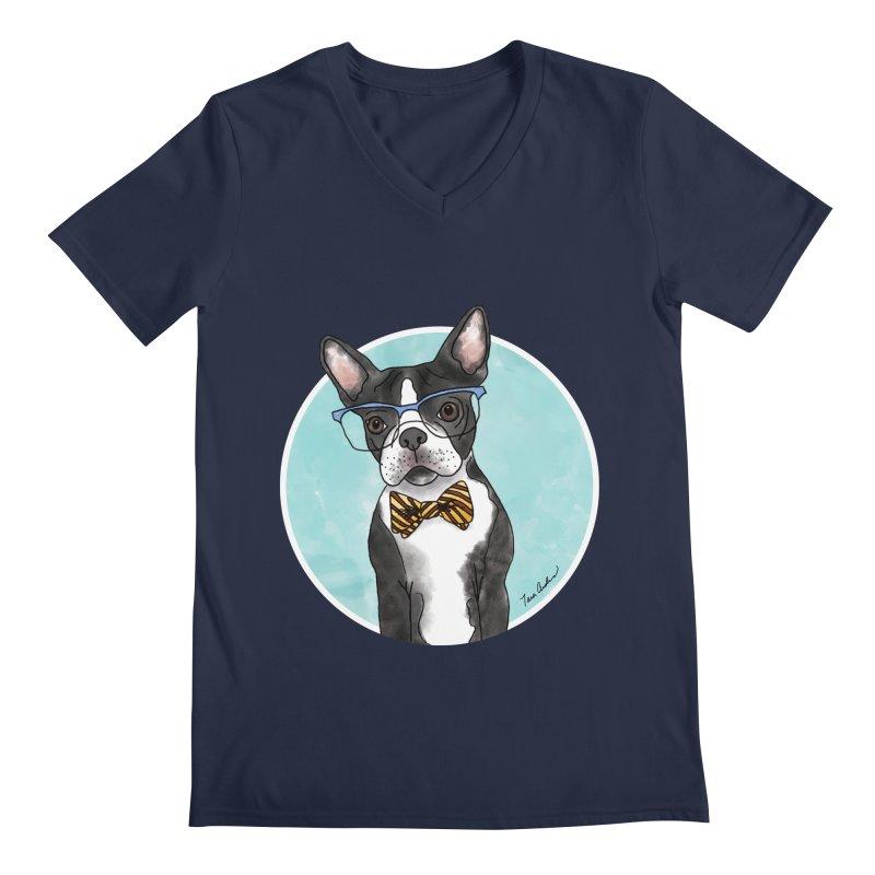 Boston Terrier with bowtie Men's V-Neck by Tara Joy Andrews