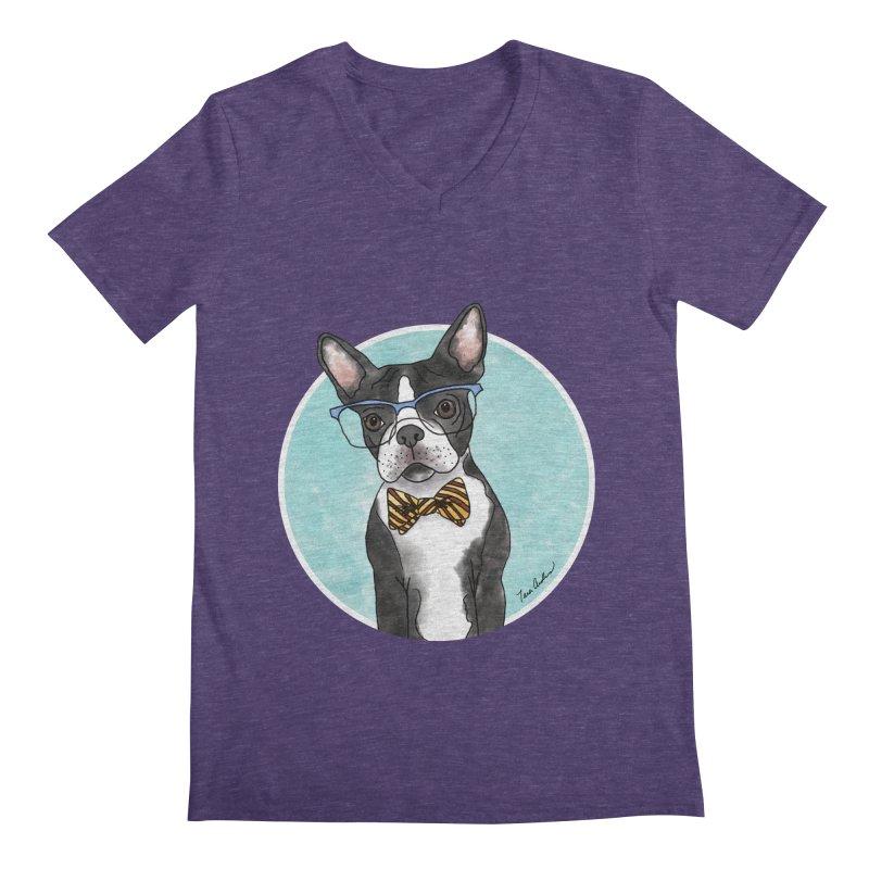Boston Terrier with bowtie Men's Regular V-Neck by Tara Joy Andrews