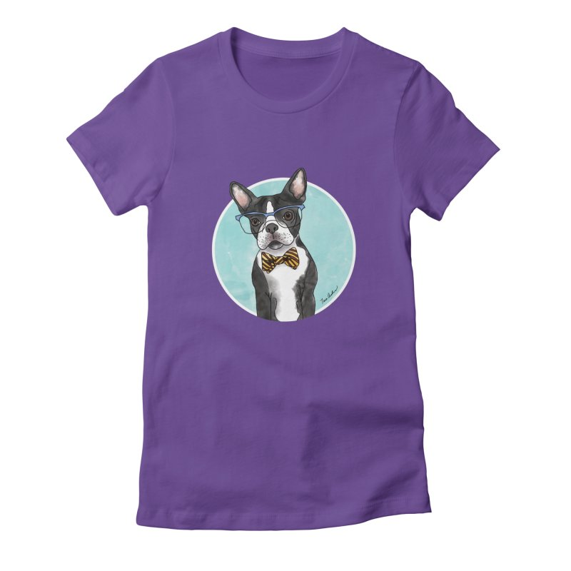 Boston Terrier with bowtie in Women's Fitted T-Shirt Purple by Tara Joy Andrews