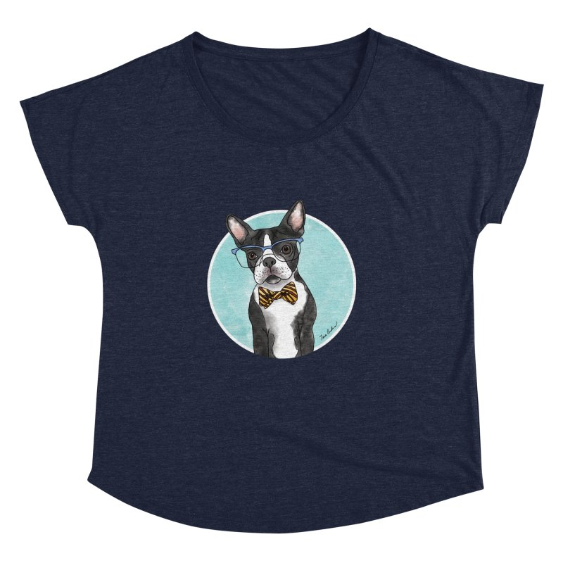Boston Terrier with bowtie Women's Dolman Scoop Neck by Tara Joy Andrews