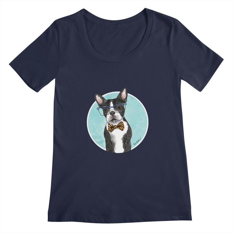 Boston Terrier with bowtie Women's Regular Scoop Neck by Tara Joy Andrews