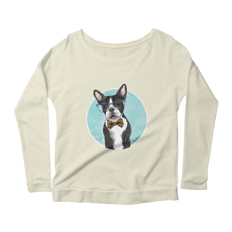 Boston Terrier with bowtie Women's Scoop Neck Longsleeve T-Shirt by Tara Joy Andrews