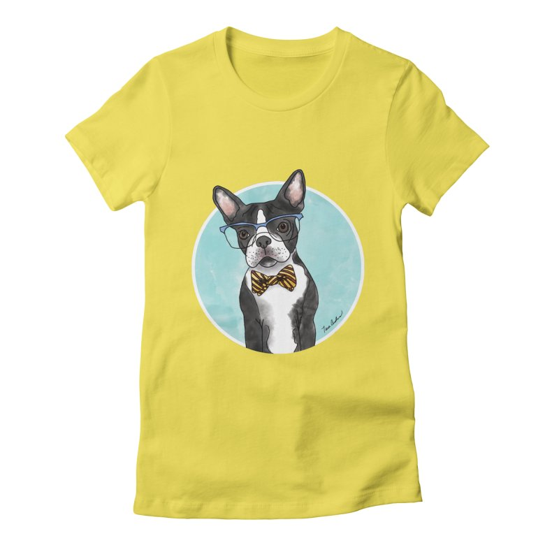 Boston Terrier with bowtie Women's Fitted T-Shirt by Tara Joy Andrews