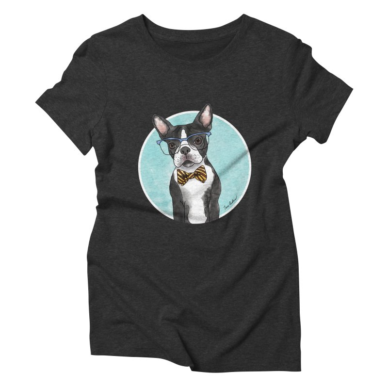 Boston Terrier with bowtie Women's Triblend T-Shirt by Tara Joy Andrews