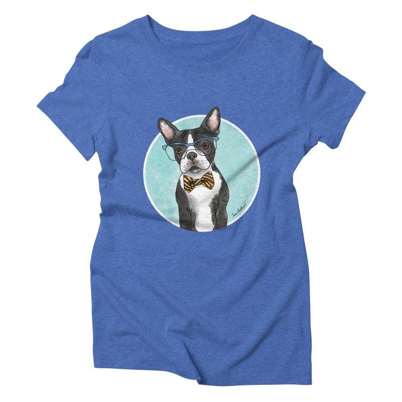 Boston Terrier with bowtie Women's Triblend T-Shirt by Tara Joy Andrews
