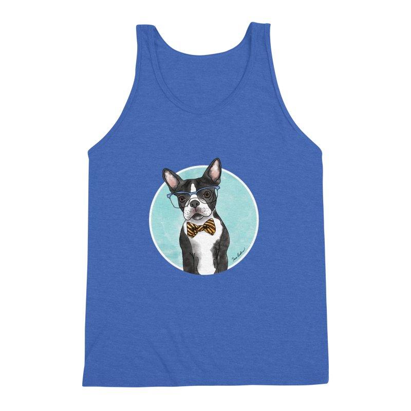 Boston Terrier with bowtie Men's Triblend Tank by Tara Joy Andrews