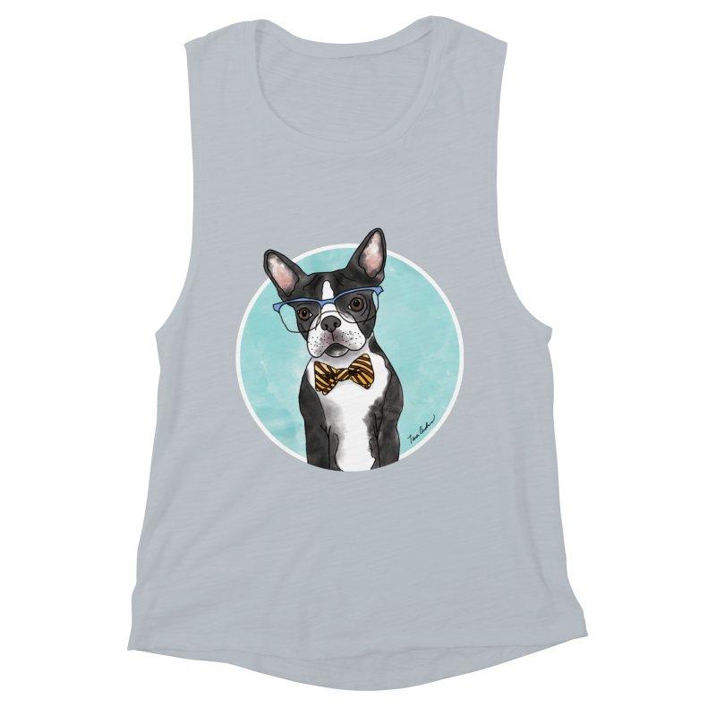 Boston Terrier with bowtie Women's Muscle Tank by Tara Joy Andrews