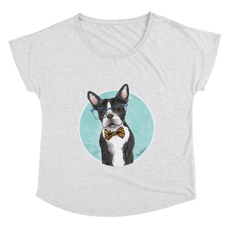 Boston Terrier with bowtie Women's Scoop Neck by Tara Joy Andrews
