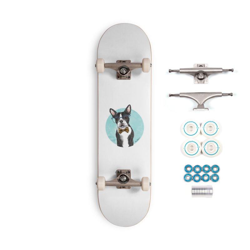 Boston Terrier with bowtie Accessories Skateboard by Tara Joy Andrews
