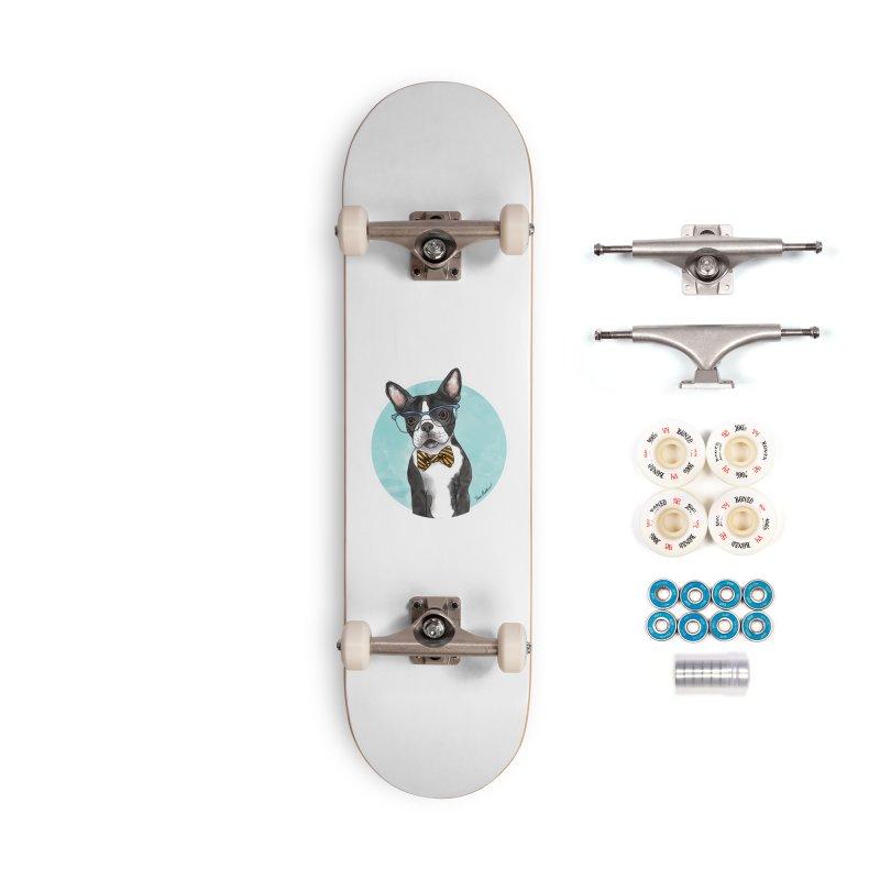 Boston Terrier with bowtie Accessories Complete - Premium Skateboard by Tara Joy Andrews