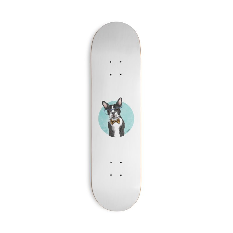 Boston Terrier with bowtie Accessories Skateboard by Tara Joy Andrews