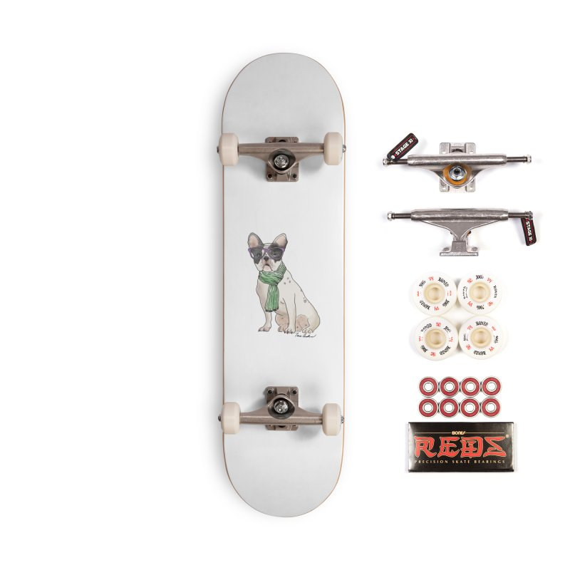 Hipster French Bulldog Accessories Complete - Pro Skateboard by Tara Joy Andrews