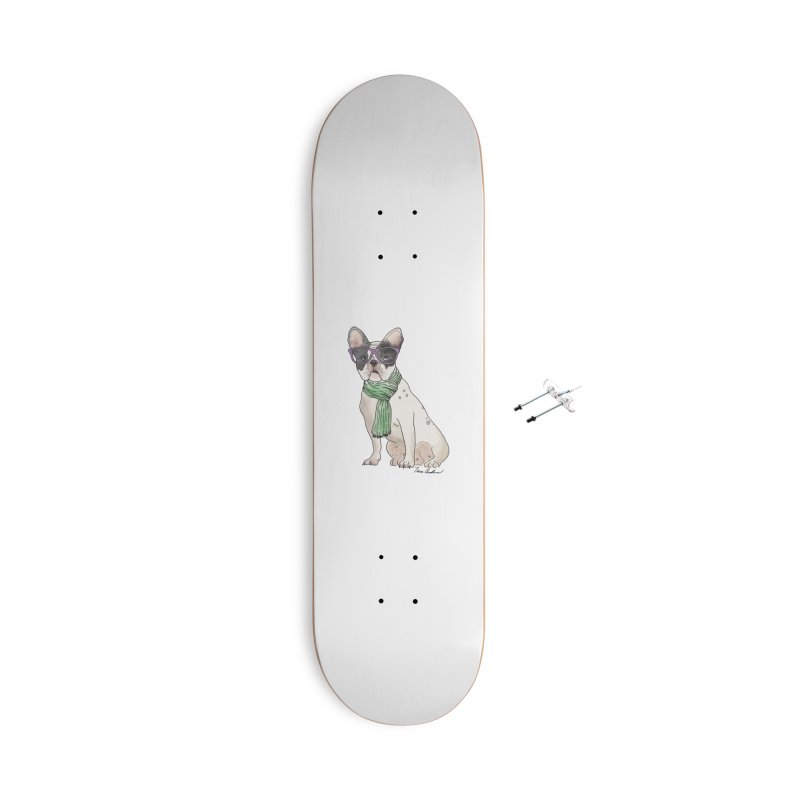 Hipster French Bulldog Accessories With Hanging Hardware Skateboard by Tara Joy Andrews