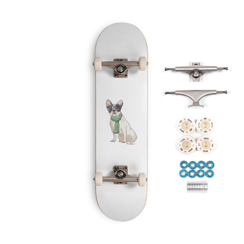 Hipster French Bulldog Accessories Complete - Premium Skateboard by Tara Joy Andrews