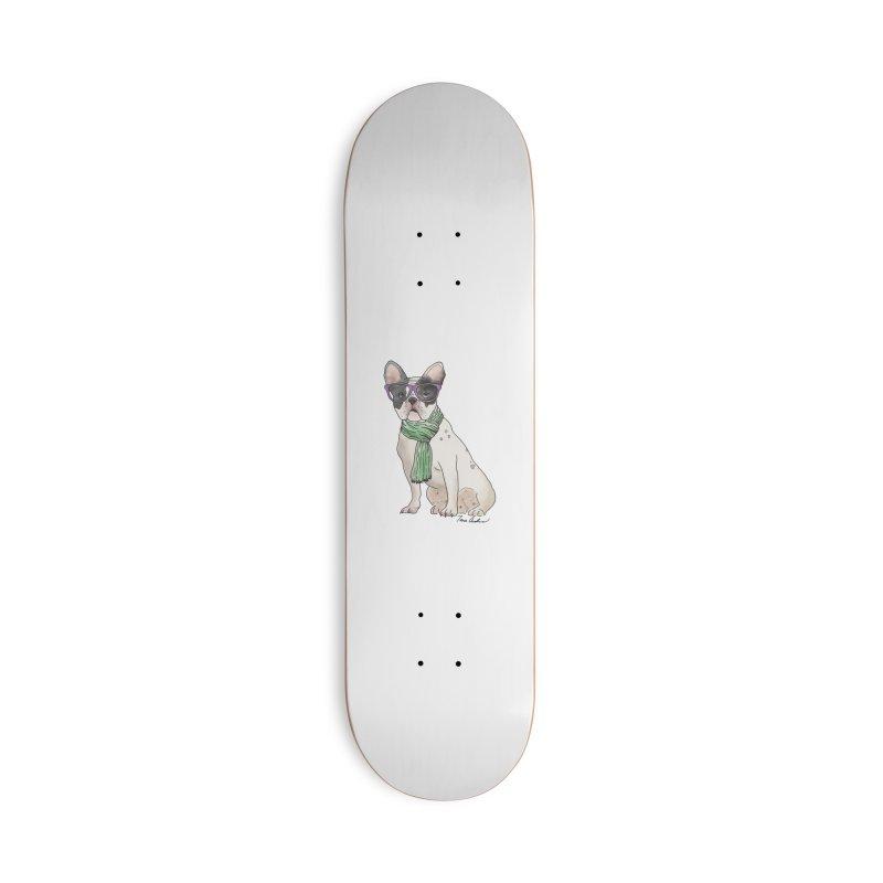 Hipster French Bulldog Accessories Skateboard by Tara Joy Andrews
