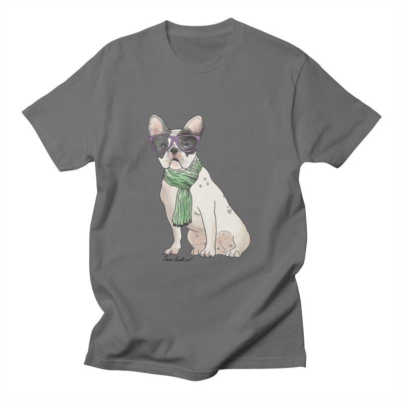 Hipster French Bulldog Men's T-Shirt by Tara Joy Andrews
