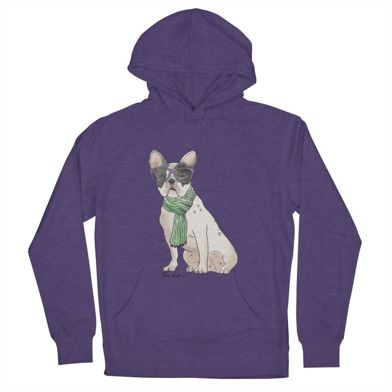 Hipster French Bulldog Women's French Terry Pullover Hoody by Tara Joy Andrews