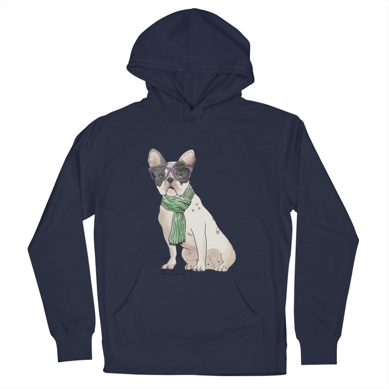 Hipster French Bulldog Men's French Terry Pullover Hoody by Tara Joy Andrews
