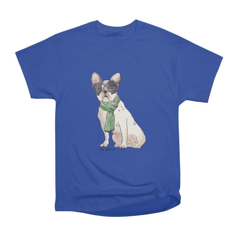 Hipster French Bulldog Women's Heavyweight Unisex T-Shirt by Tara Joy Andrews