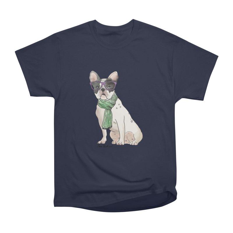 Hipster French Bulldog Men's Heavyweight T-Shirt by Tara Joy Andrews