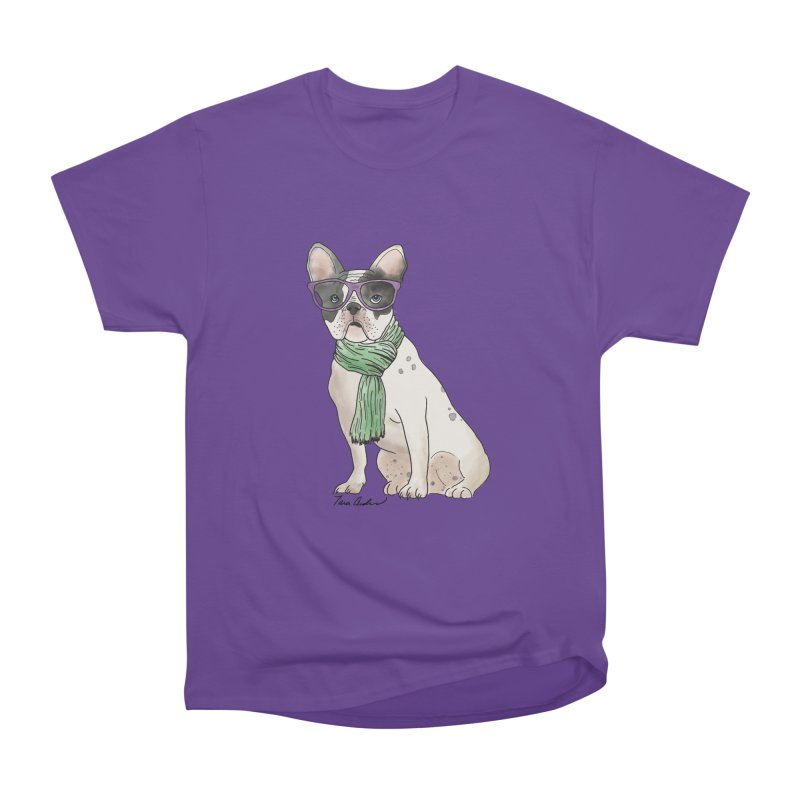 Hipster French Bulldog Men's Heavyweight T-Shirt by Tara Joy Andrews