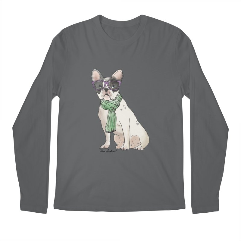 Hipster French Bulldog Men's Longsleeve T-Shirt by Tara Joy Andrews