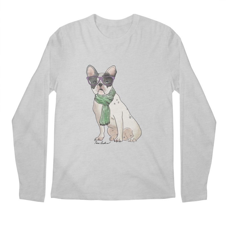 Hipster French Bulldog Men's Regular Longsleeve T-Shirt by Tara Joy Andrews