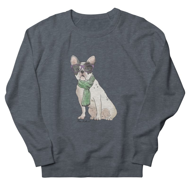 Hipster French Bulldog Men's French Terry Sweatshirt by Tara Joy Andrews