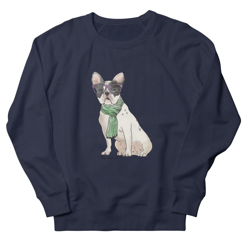 Hipster French Bulldog Men's French Terry Sweatshirt by Tara Joy Andrews