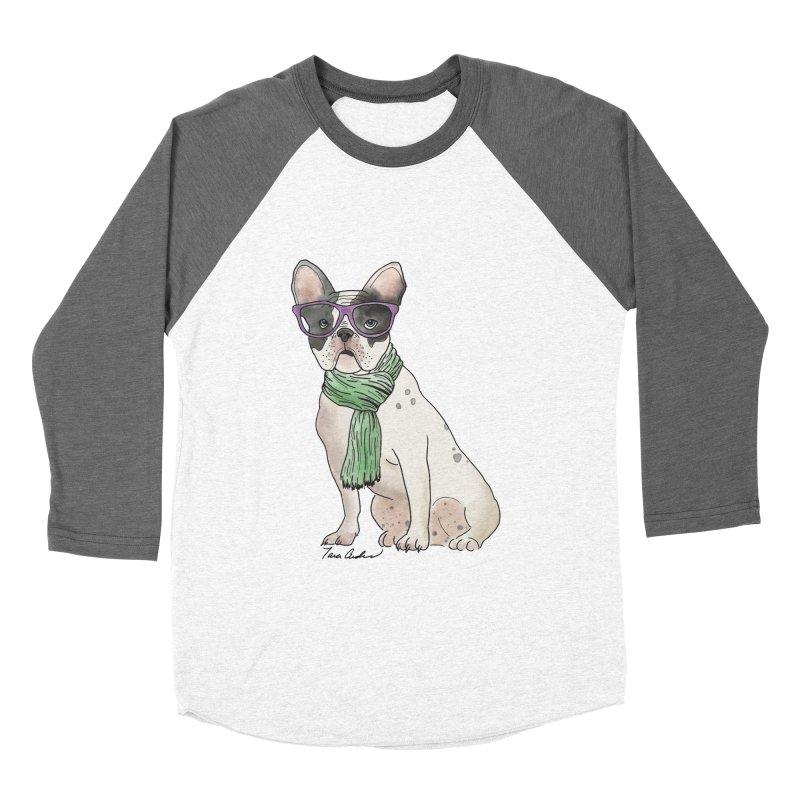 Hipster French Bulldog Women's Baseball Triblend Longsleeve T-Shirt by Tara Joy Andrews